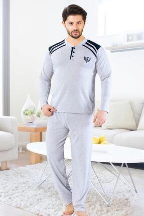 Oksit Gls 3700 Uzun Kol Düğmeli Yaka Erkek Pijama Takımı