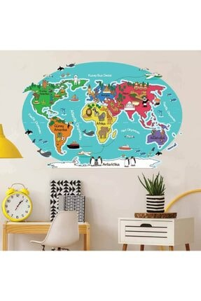 3M Hayvan Ve Şehirler Dünya Haritası Duvar Stickerı