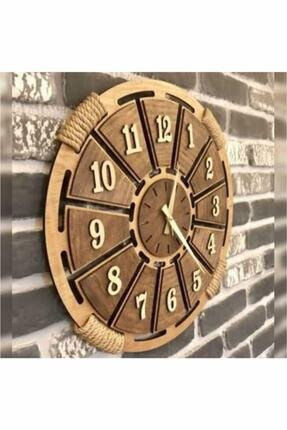 HanemGrup Kahverengi Hasır Detaylı Ahşap Duvar Saati
