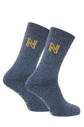 NORFOLK Unisex Mavi Merinos Yünü ve Bambu Tam Yastıklı Termal Dış Mekan Çorabı Gabby
