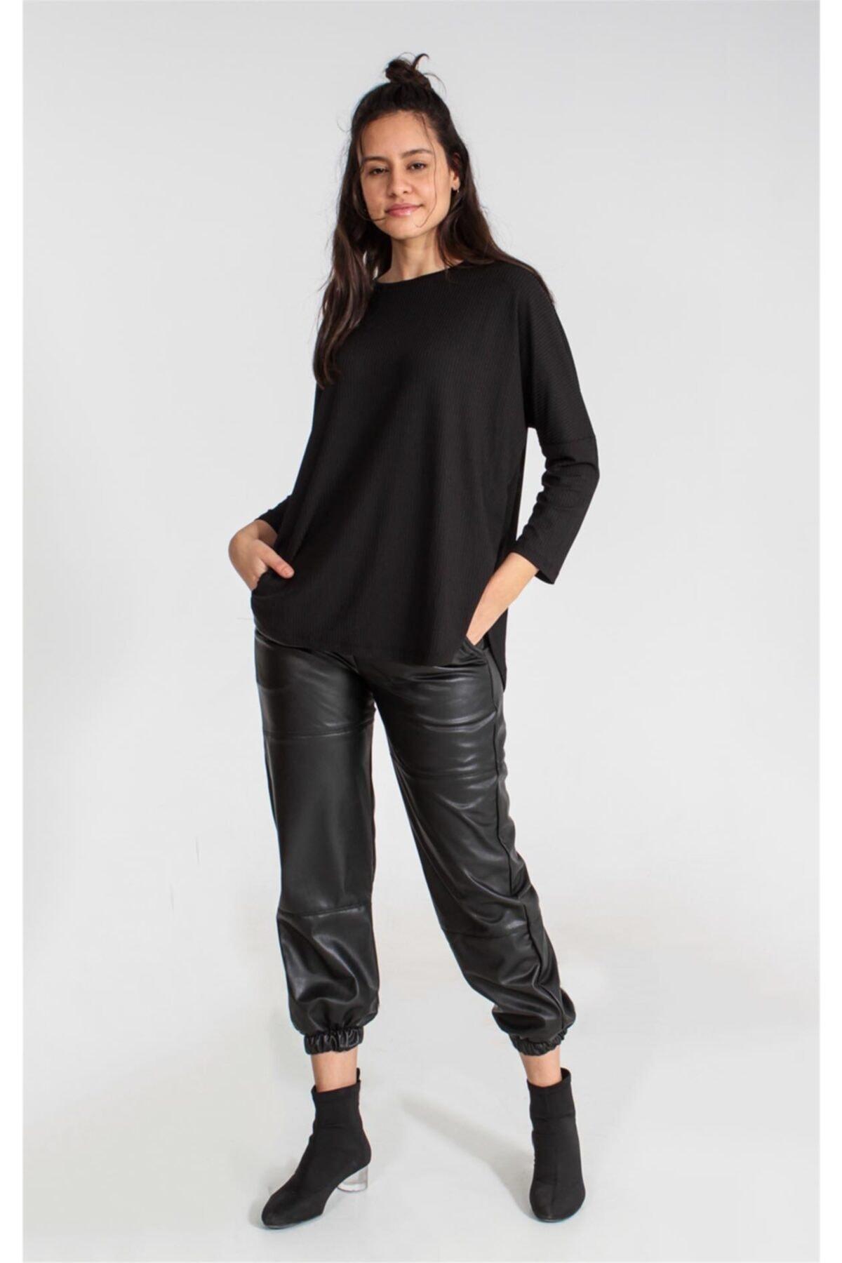 Collezione Sıyah Kadın Örme Tshirt 1