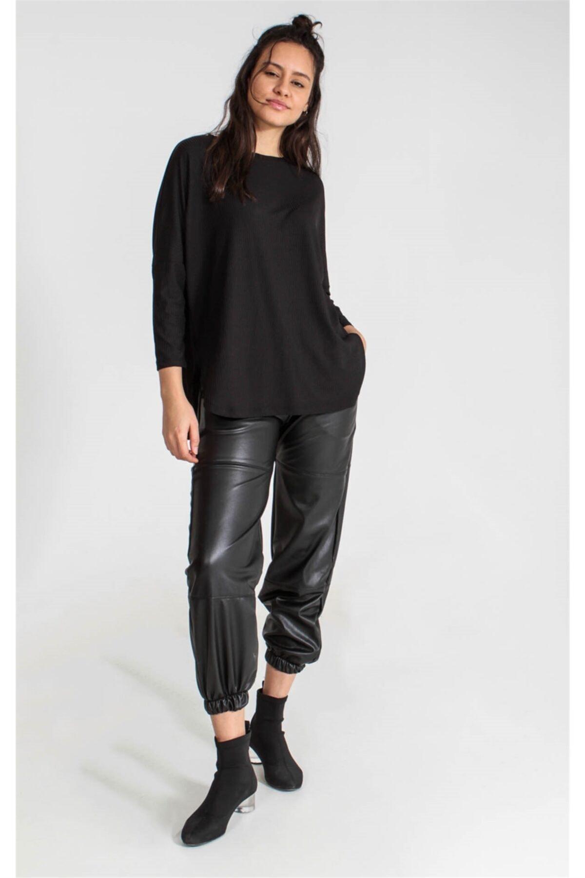 Collezione Sıyah Kadın Örme Tshirt 2