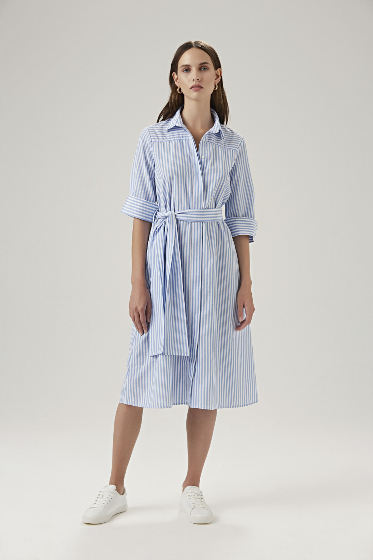 BeCasual Kadın Beli Kemerli Gömlek Elbise 1