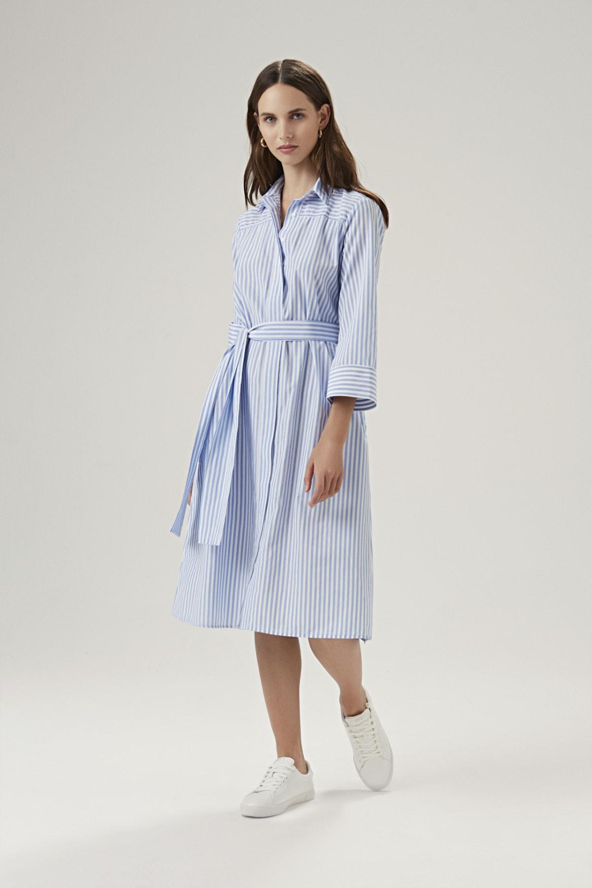 BeCasual Kadın Beli Kemerli Gömlek Elbise 2