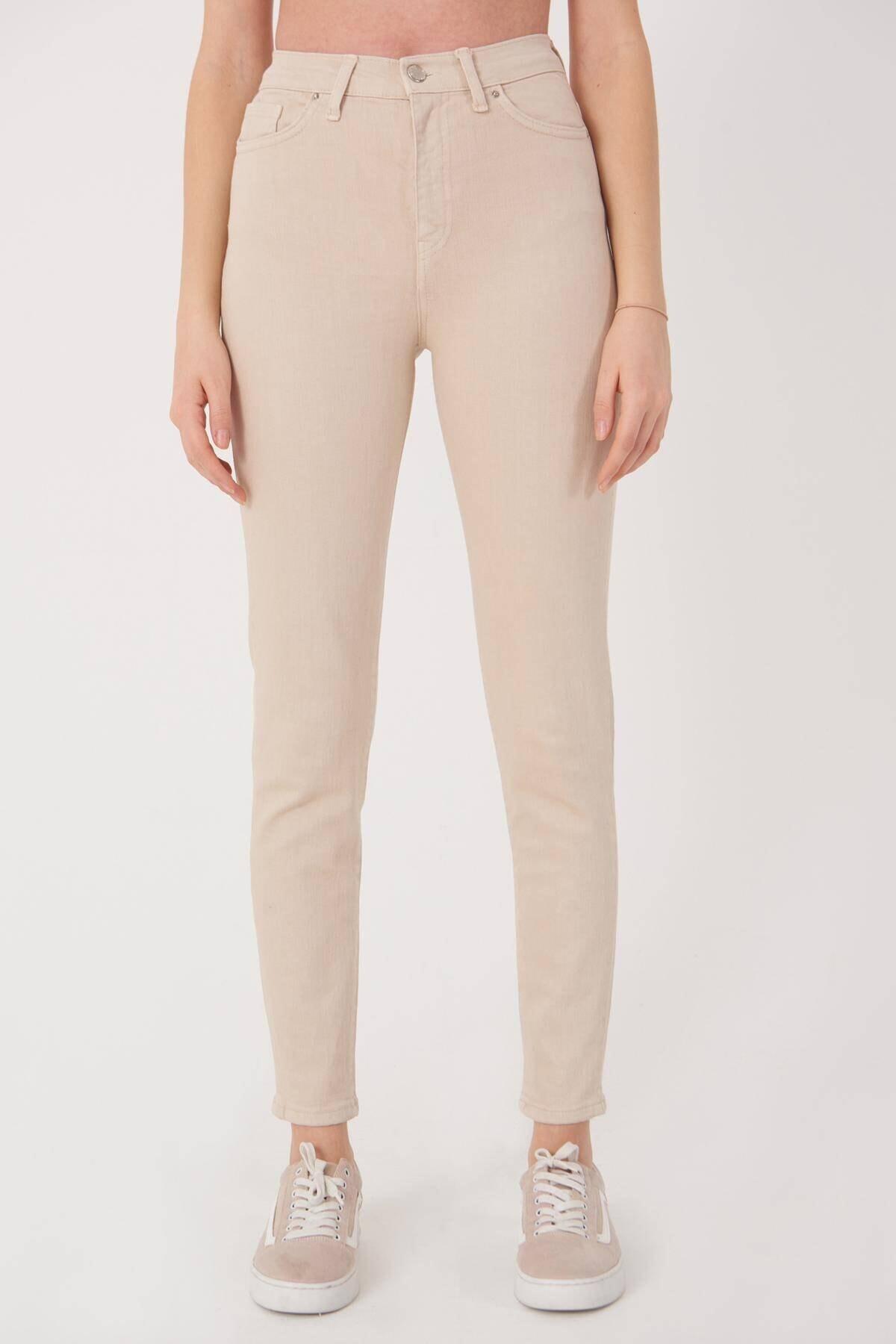 Addax Kadın Taş Yüksek Bel Cep Detaylı Pantolon Pn4442 - Pnk Adx-0000023716