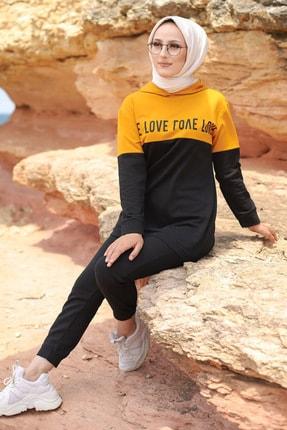 TOFİSA Kadın Hardal Yazılı İkili Eşofman Takımı