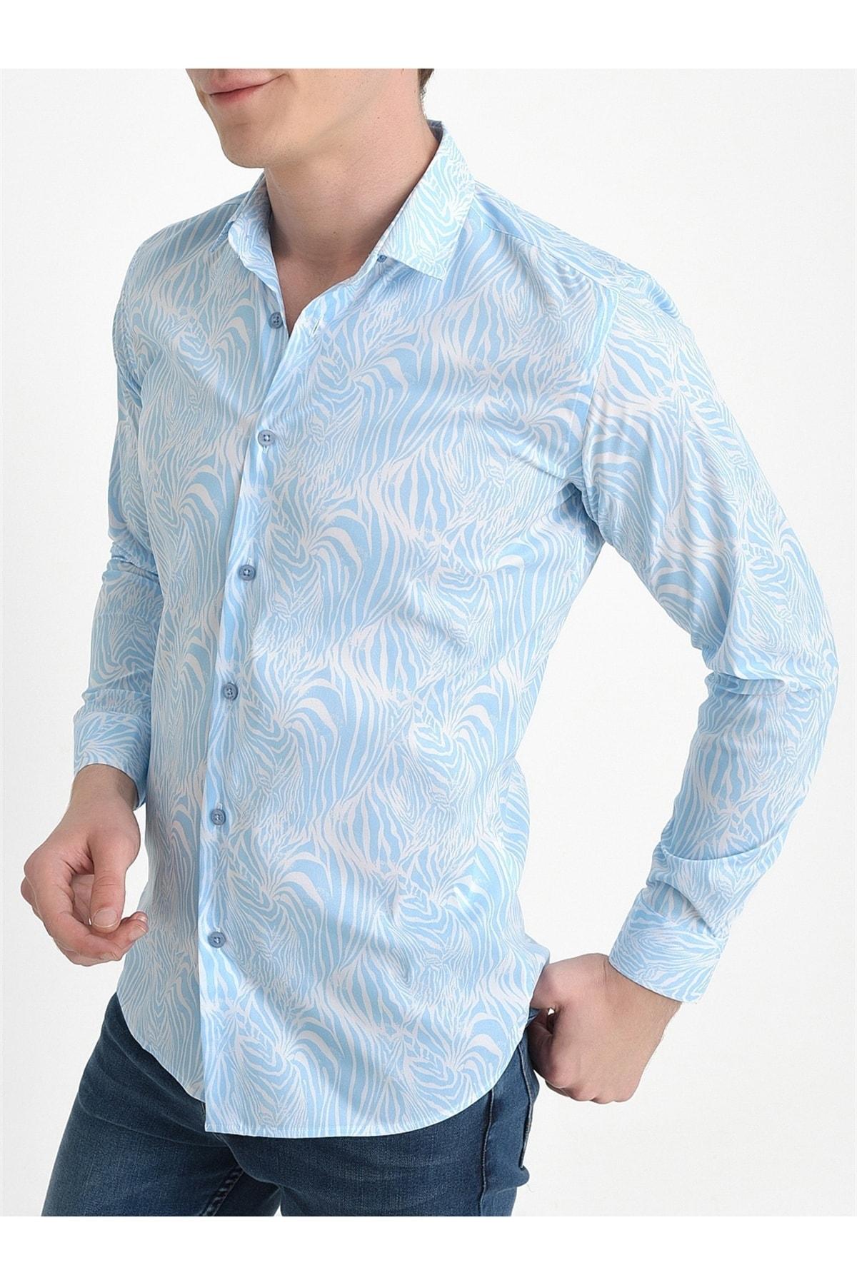 Efor G 1407 Slim Fit Mavi Spor Gömlek 2
