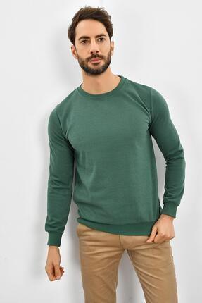 TENA MODA Erkek Haki Bisiklet Yaka Basic Sweatshirt