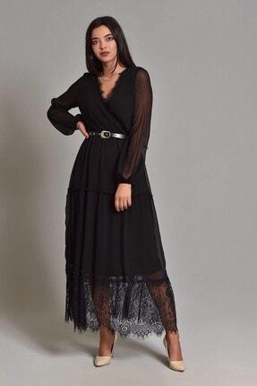 Modakapimda Siyah Etek Ucu Tül Kemerli Büyük Beden Şifon Elbise