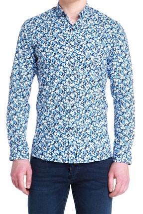 Efor G 1380 Slim Fit Mavi Spor Gömlek