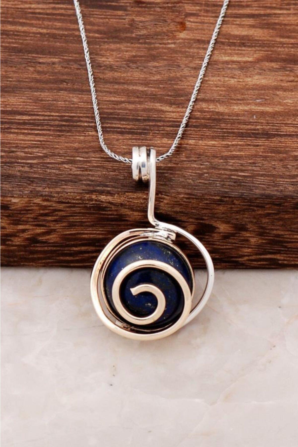 Sümer Telkari Lapis Lazuli Taşlı Tasarım Gümüş Kolye 6446 1