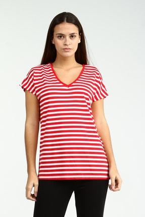 Collezione Kırmızı V Yakalı Çizgili Kısa Kollu Kadın Tshirt
