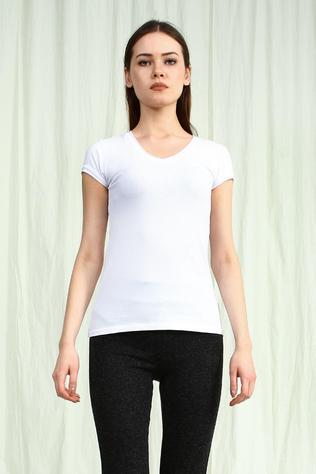Collezione Kadın Beyaz V Yakalı Kısa Kollu Basic Tshirt 1