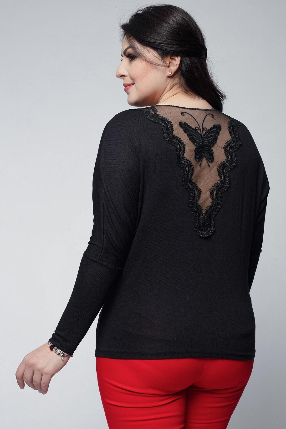 Ebsumu Kadın Büyük Beden Yarasa Kol Sırtı Transparan Kelebek Işlemeli Siyah Bluz 2