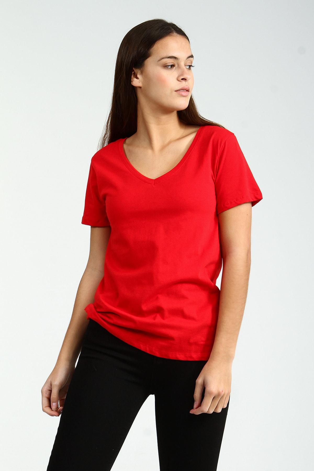 Collezione Kırmızı V Yakalı Kısa Kollu Basic Kadın Tshirt 1