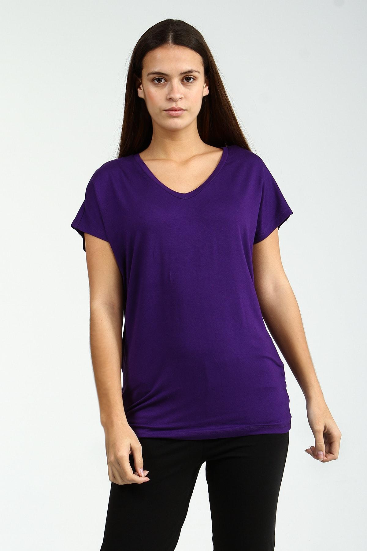 Collezione Mor V Yakalı Kısa Kollu Basic Kadın Tshirt 2