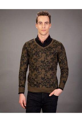 Tudors V Yaka Desenli Kahverengi Erkek Kazak