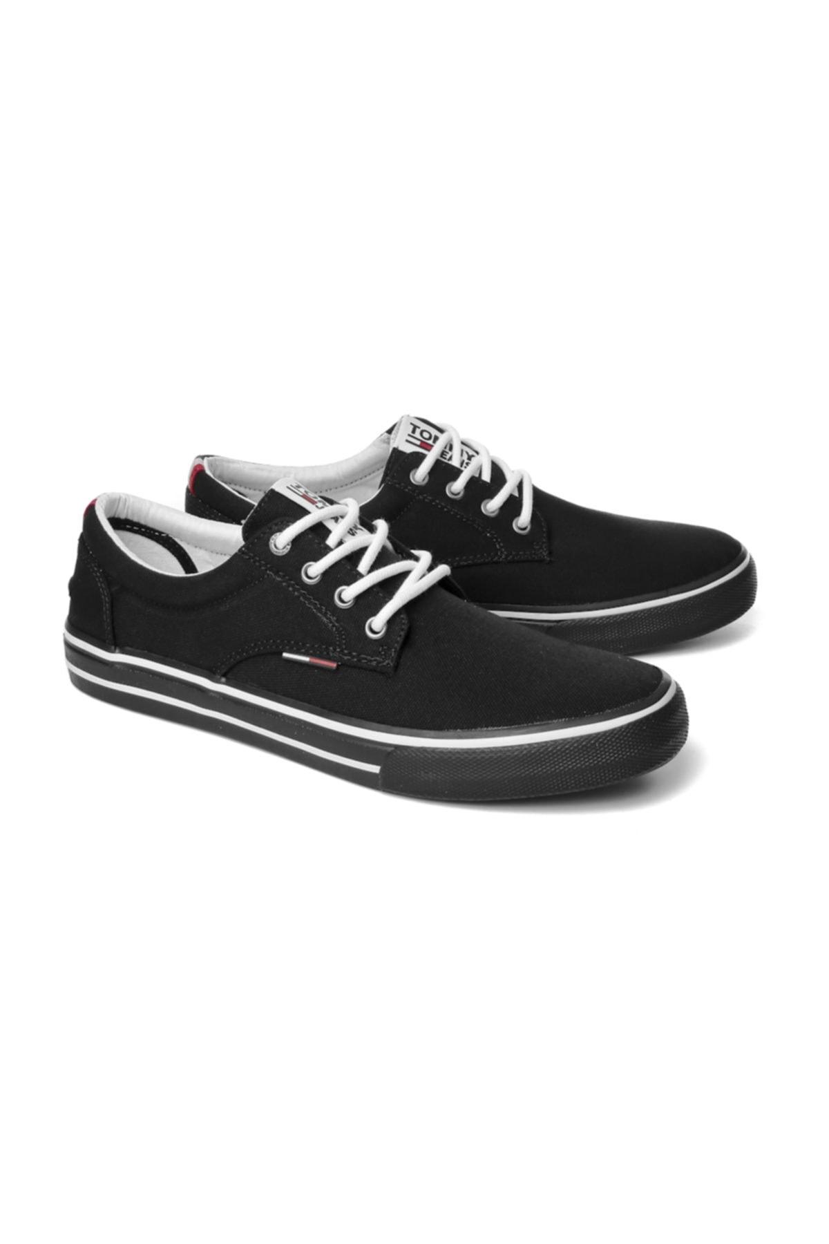 Tommy Hilfiger Erkek Siyah Sneaker Tommy Jeans Textıle Sneaker EM0EM00001 2