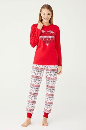 U.S. Polo Assn. Uspa Kadın Kırmızı Yuvarlak Yaka Pijama Takım