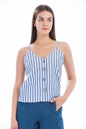 Cotton Mood 8281244 Keten Çizgili Önü Düğmeli Ip Askılı Bluz Mavı