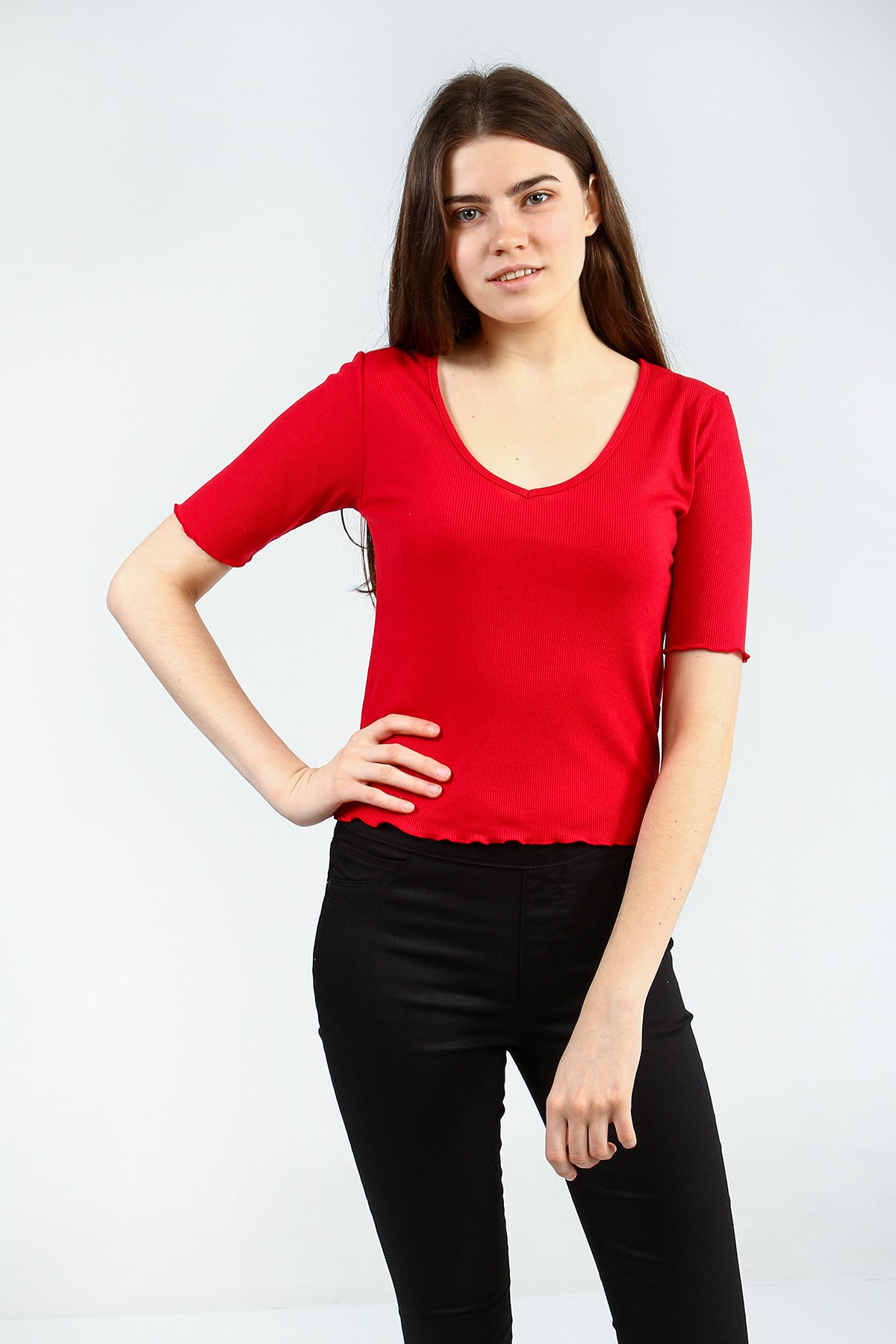 Collezione Kırmızı V Yakalı Bel Ve Kol Detaylı Kısa Kollu Basic Kadın Tshirt 1