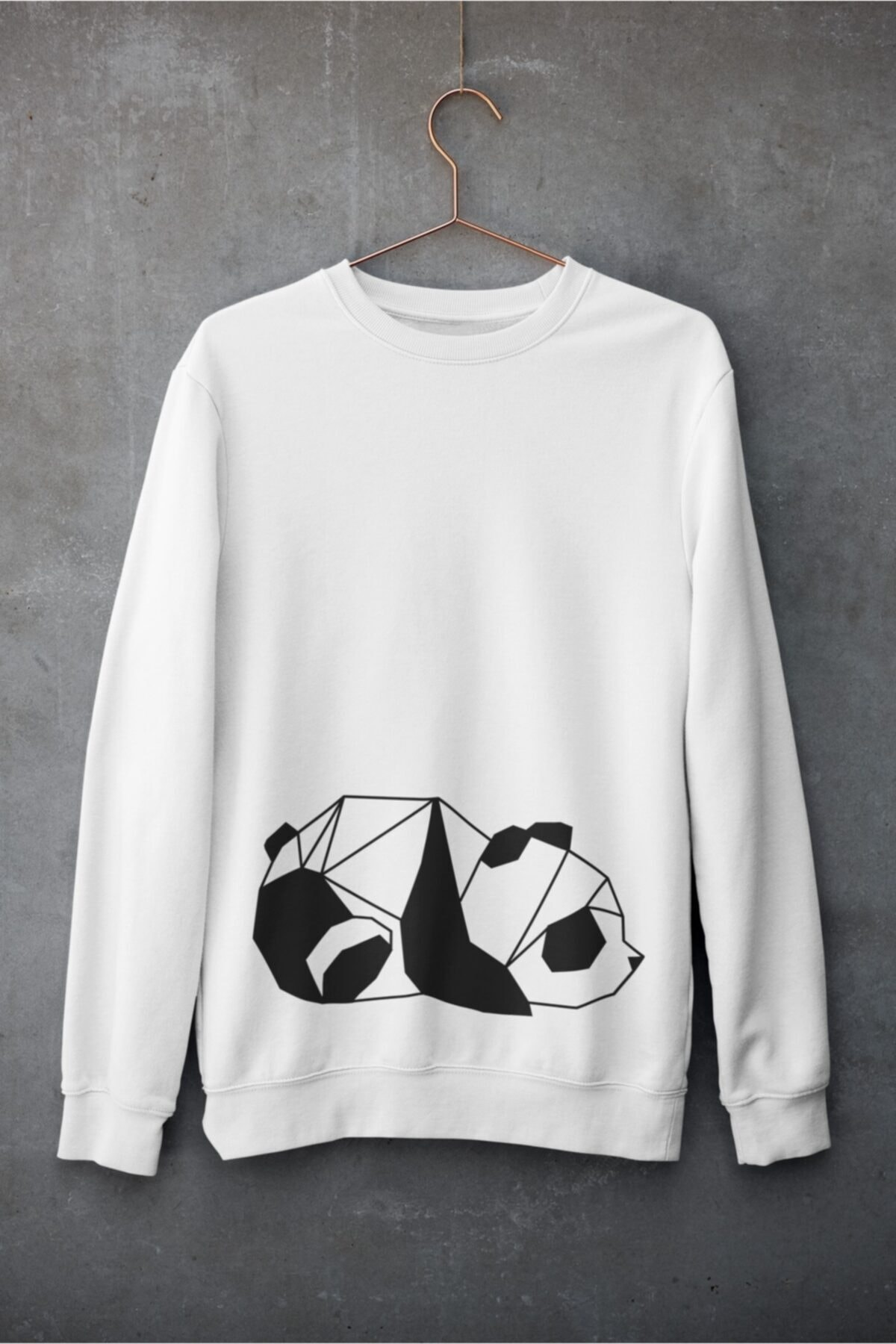 bibaskıyap Panda Line Unisex Sweatshirt Pamuklu Beyaz 1