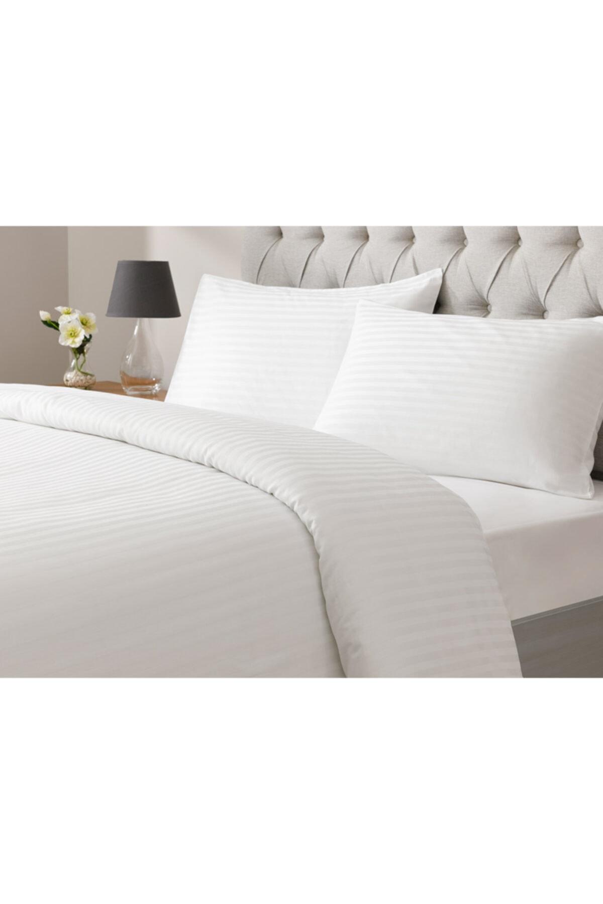 English Home White Collection Saten Çizgili Çift Kişilik Nevresim Takımı 200x220 Cm Beyaz 1
