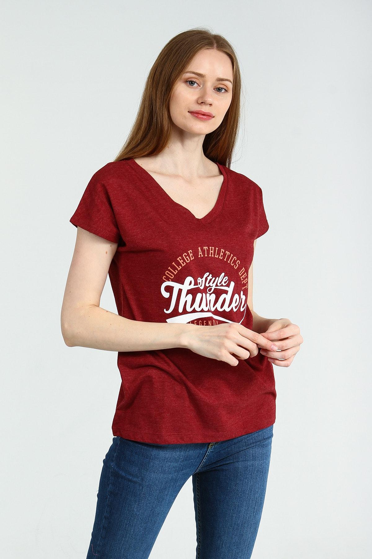 Collezione Bordo Önü Basklılı V Yakalı Kısa Kollu Kadın Tshirt 2