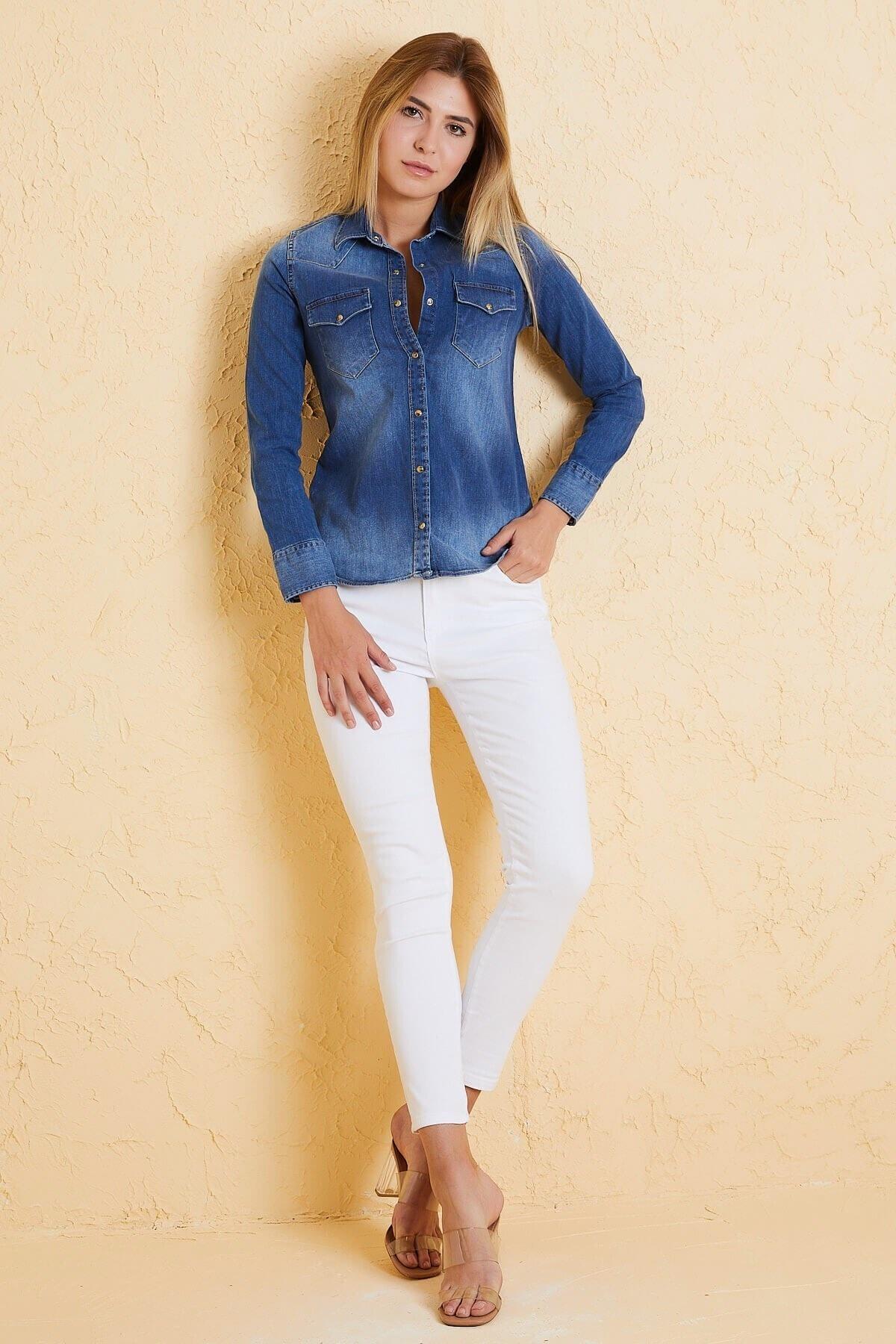 Twister Jeans Kadın Slim Fit Gömlek Bg 812-03 A.mavı 2