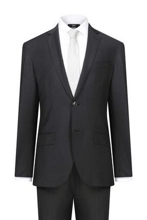 W Collection Siyah Çizgili Takım Elbise