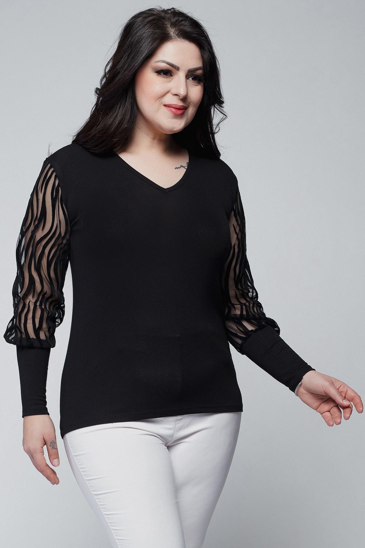 Ebsumu Kadın Büyük Beden Kolları Transparan Süet Dal Detay Siyah Bluz 2