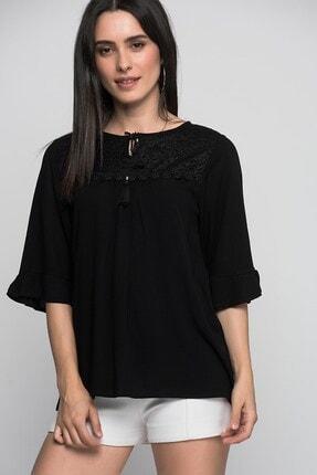 Cotton Mood 7232302 Şile Bezi Önü Dantel Bağcıklı Kapri Kol Bluz Sıyah