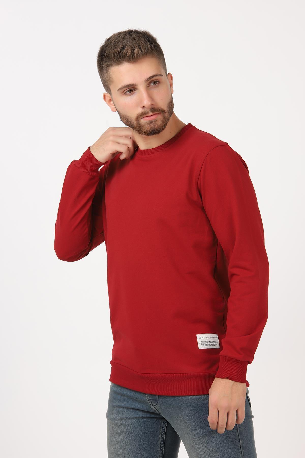 TENA MODA Erkek 9-açık Bordo Basic Sweatshirt 1