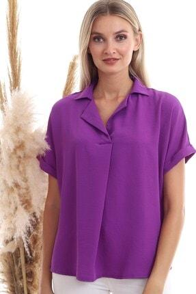 Cotton Mood 9152967 Sunshıne Ceket Yaka Sırtı Düğme Detaylı Yarasa Bluz Mor