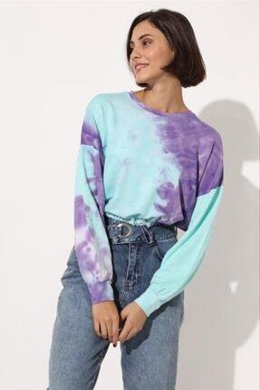 TENA MODA Kadın Mor Belden Lastikli Batik Desen Sweatshirt