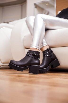 Deripabuc Hakiki Deri Siyah Kadın Topuklu Deri Bot Trc-46356