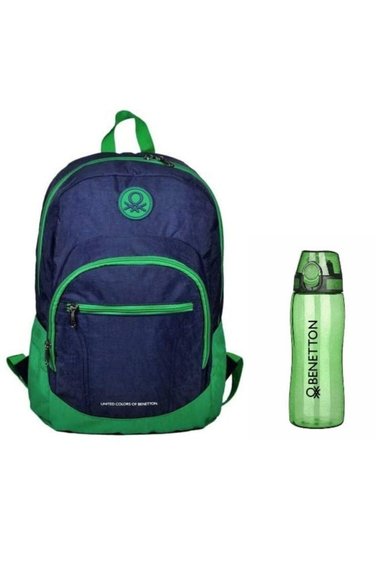 Benetton Lisanslı Okul Ve Spor Sırt Çantası + Tritan Sporcu Matarası Kilitli Kapak 1