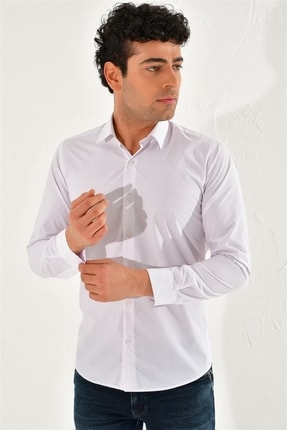 Efor Gk 589 Slim Fit Beyaz-kahve Klasik Gömlek