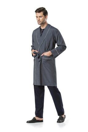 Pierre Cardin 5560 Erkek Lacivert Penye Uzunkol & Bordo Kısakol Pijama Ve Robdöşambr Çeyiz Seti