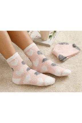 English Home Heart Soft Peluş Çorap Pembe - Beyaz
