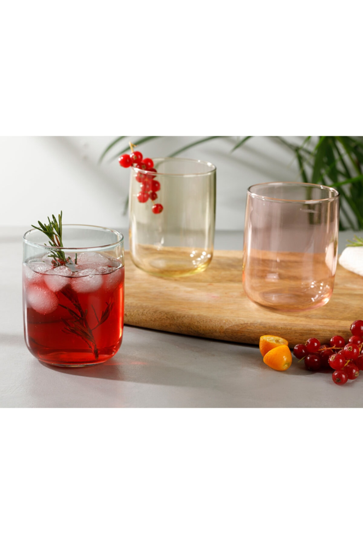 English Home Rosalinda Cam 3'lü Meşrubat Bardağı 270 ml Pembe - Sarı - Yeşil 1