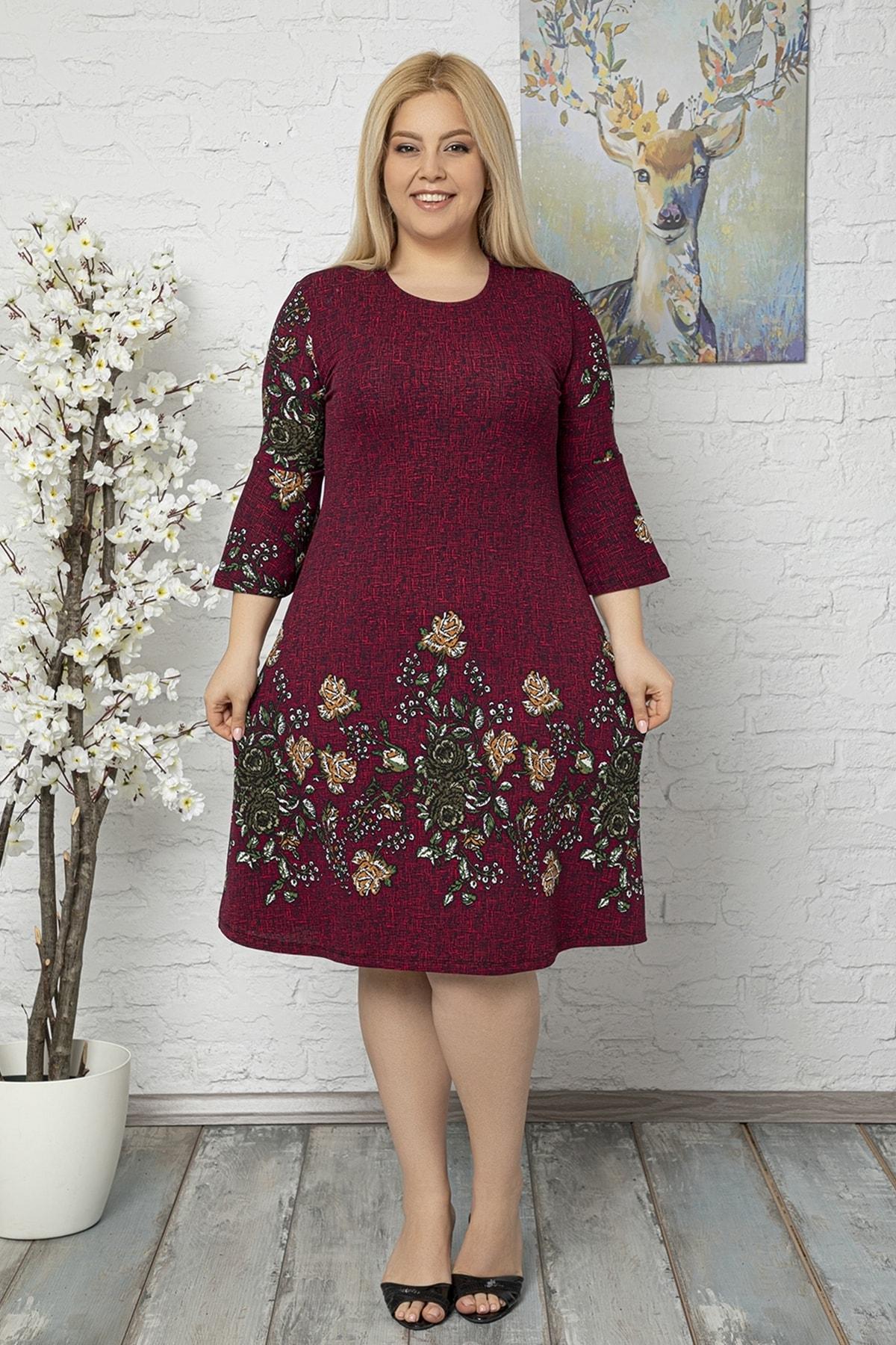 1fazlası Kadın Büyük Beden Volan Kol Krep Kumaş Elbise 1