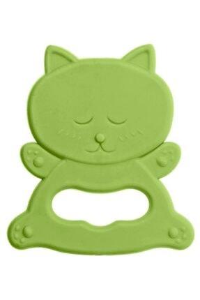 Bambino Kauçuk Yumuşak Diş Kaşıyıcı - Kedi Figürlü Yeşil