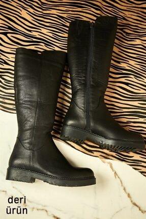 Bambi Hakiki Deri Siyah Kadın Çizme K0586300203