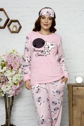 Manolya Kışlık Uzunkollu Desenli Polar Peluş Bayan Pijama Takımı