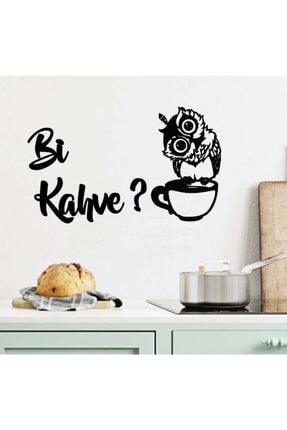 Miana Lazer Baykuşlu Bi Kahve? Yazısı Ahşap Mutfak Dekoru Bi Kahve? Motto Baykuş Temalı Mutfak Yazısı