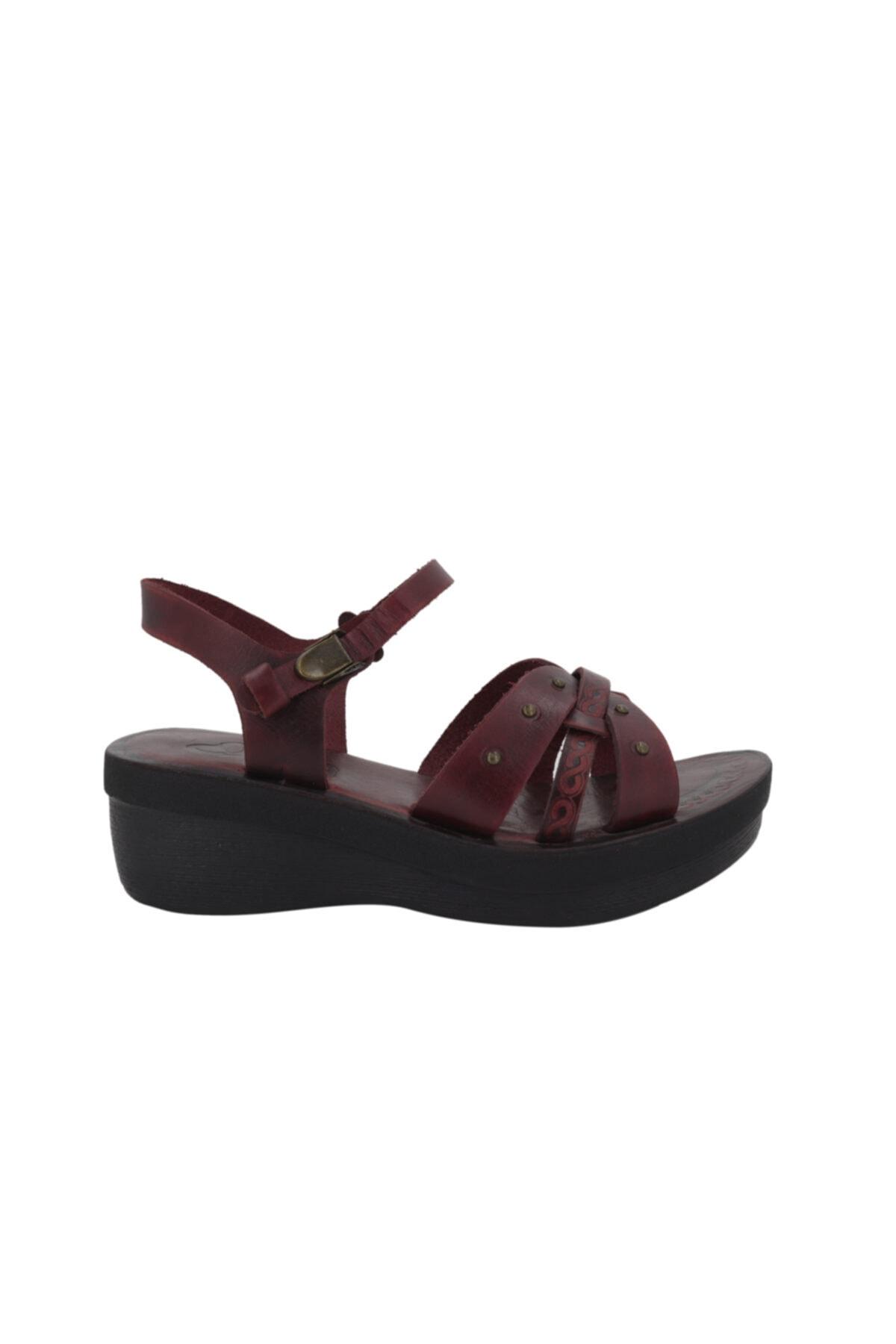 İloz Bordo Kadın Deri Bodrum Sandaleti 460817 1
