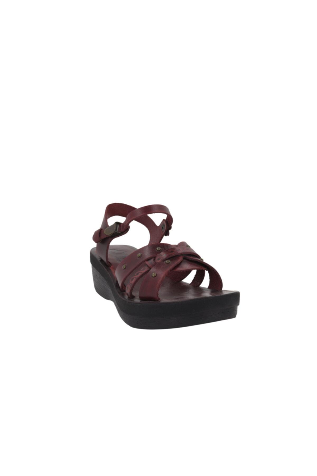 İloz Bordo Kadın Deri Bodrum Sandaleti 460817 2