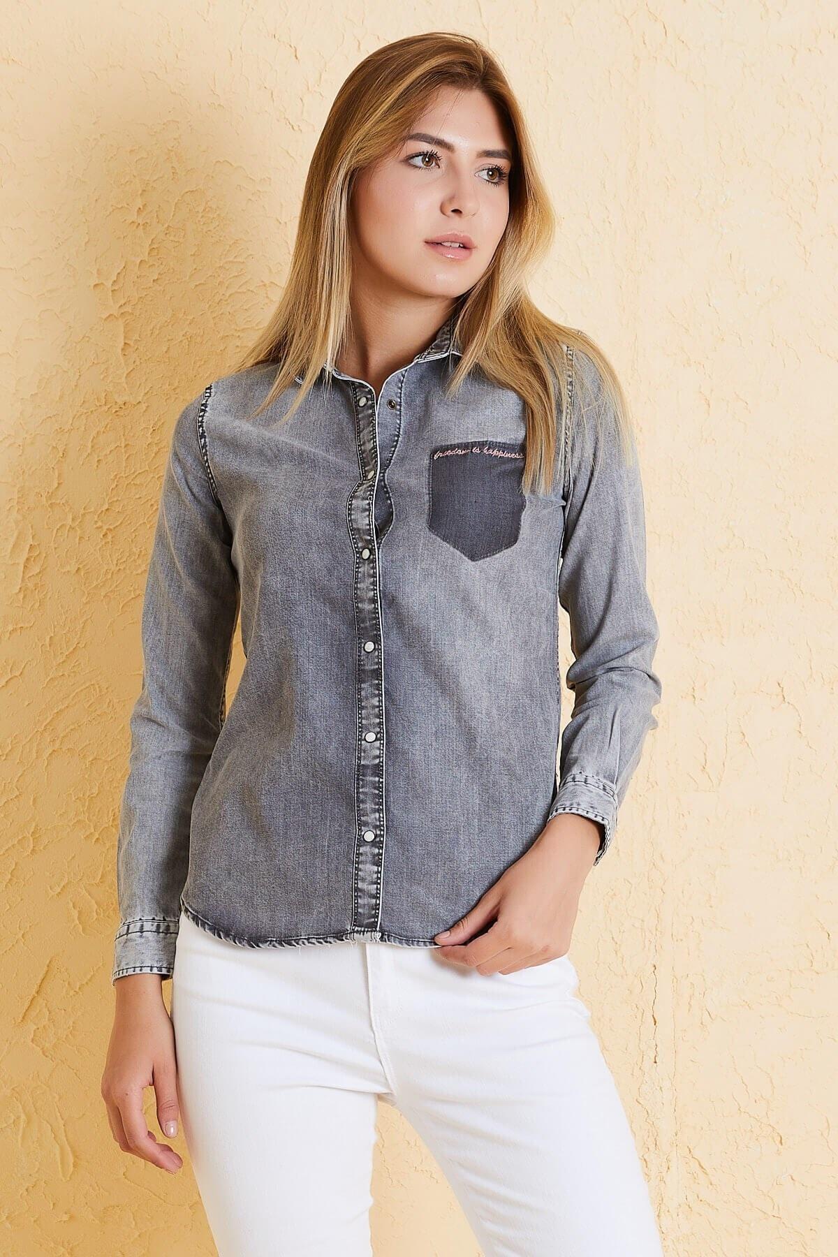Twister Jeans Kadın Slim Fit Gömlek Bg 810-01 (T-y) 01 2