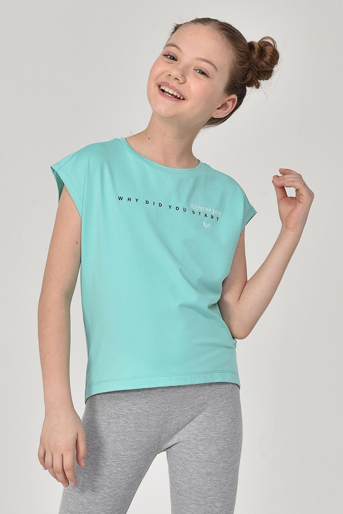 bilcee Turkuaz Kız Çocuk T-Shirt GS-8158 1